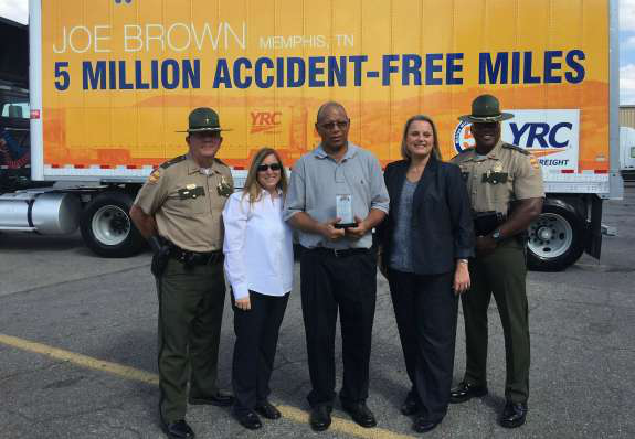 YRC Freight honors truck driver with 5 million miles