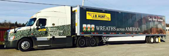 23 J B  Hunt truck drivers join with Wreaths Across America