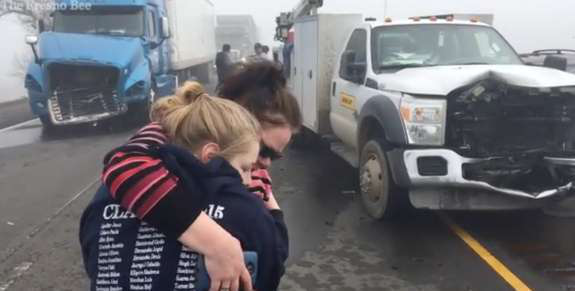 Massive pileup in California caused by Fog