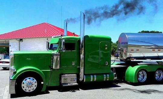 Green Colored Semi Truck