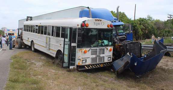 Truck collides with a bus