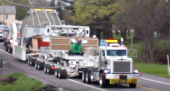 Truck moving heavy over-sized load
