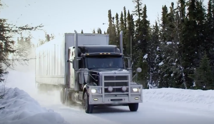 Semi-Truck Driving on an Ice Road