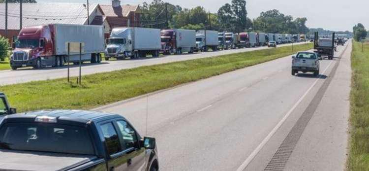 Semi-Trucks arriving at Maxwell Air Force Base