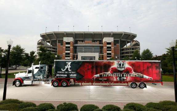 18 wheelers play a part in college football recruiting. Black Bedroom Furniture Sets. Home Design Ideas