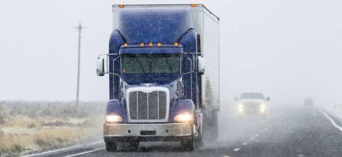 blue truck in winter