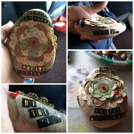 Detailed examples of painted rocks done at Mid-America Truck Show