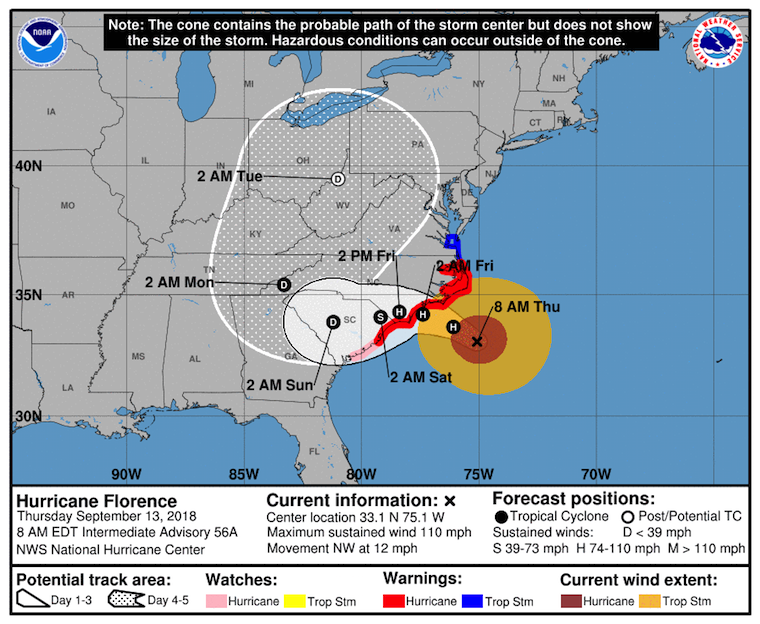 Xm Radio Weather Channel >> Hurricane Florence Arrives Tonight Into Tomorrow