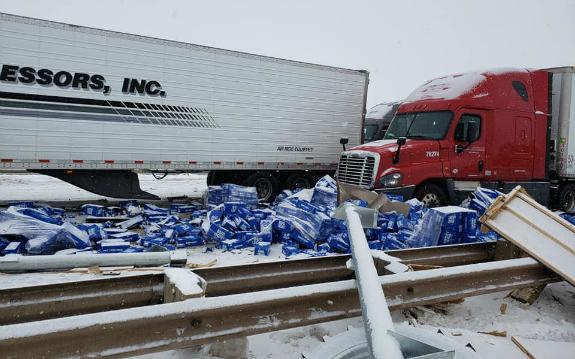 Semi-Trucks Wrecked on Interstate