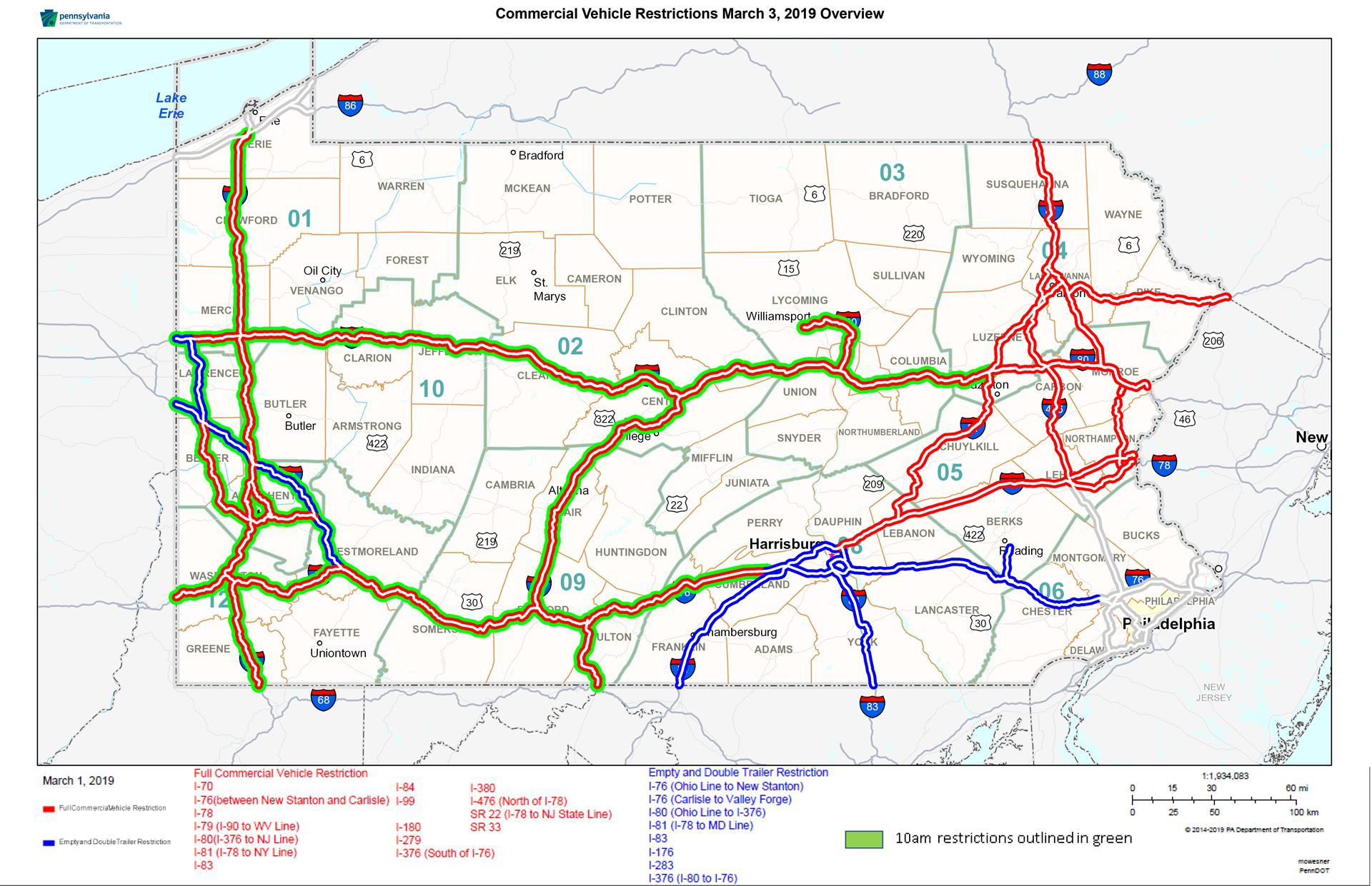 Pennsylvania truck restrictions planned due to winter storm