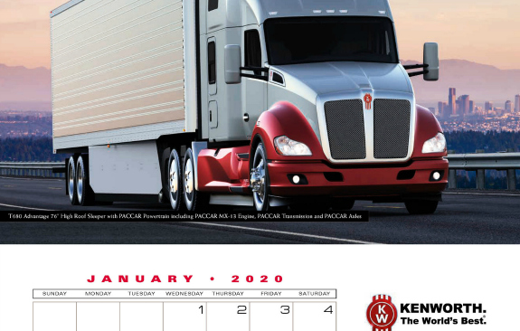 Best Lease Purchase Trucking Companies 2020.Keep Track Of 2020 With Kenworth Calendar