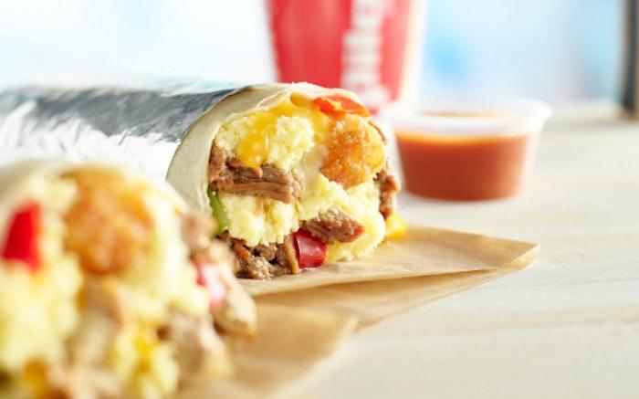 Stylized BBQ Brisket and Chicken Jumbo Breakfast Burritos 0341