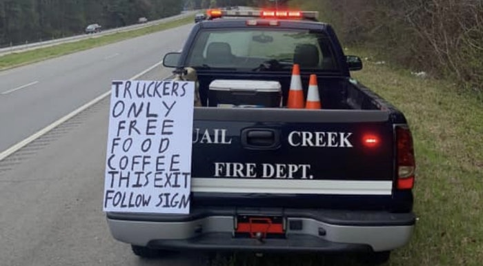 pickup[-truck-free-food-sign