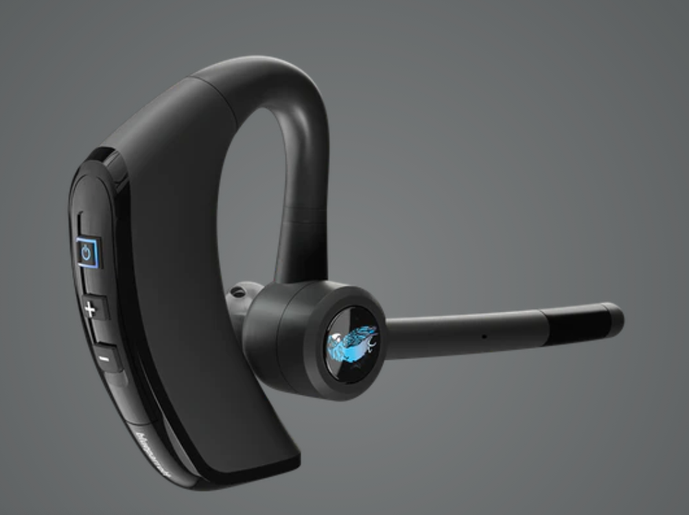 BlueParrott's M300-XT features superior noise cancellation (80%) and extended connectivity time of up to 14 hours of talk time on a single charge.