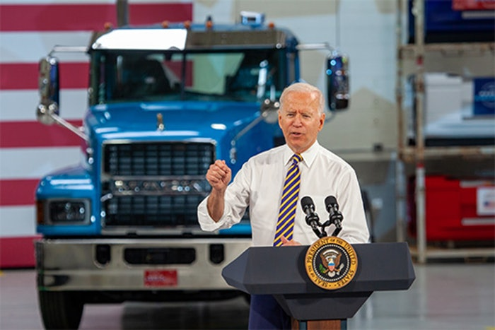 President Biden speaks at the Mack Truck plant in Macungie, Pennsylvania Wednesday, July 28.