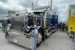 Marcel Pontbriand's 1989 Peterbilt 379 and 2015 Great Dane trailer 'Cowboy of the Road' won the coveted Trucker's Choice award.