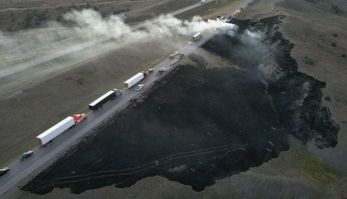Hay fire along i-90 in South Dakota